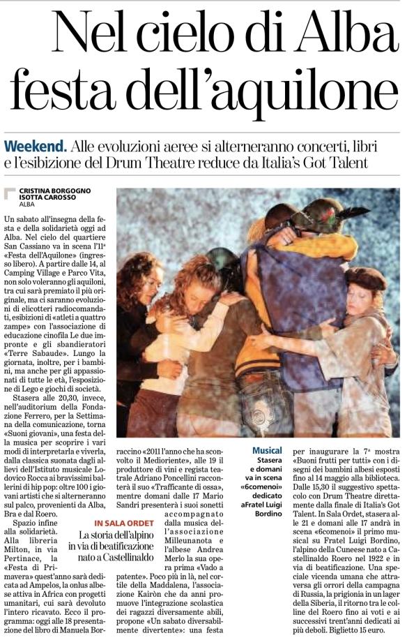 La tournée di 6comeNoi sulla Stampa